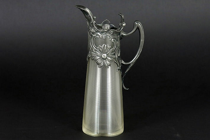 small WMF Art Nouveau decanter in ribbed glass with typical mounting - marked