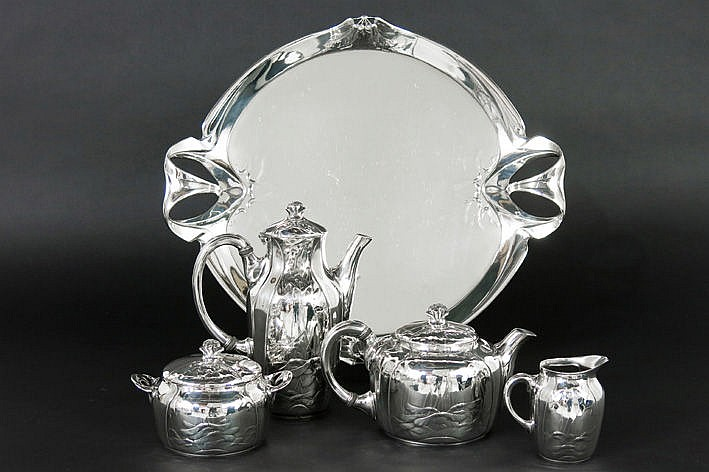 French four-pieces 'Gallia' Art Nouveau coffee and tea with its tray - with floral  whiplash ornamentation - marked