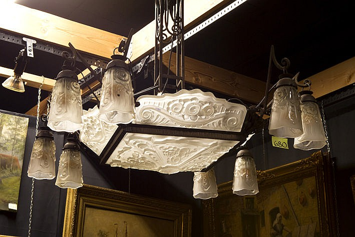quite big Art Deco-chandelier in wrought iron and glass