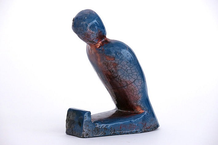 sculpture in enamelled earthenware - signed