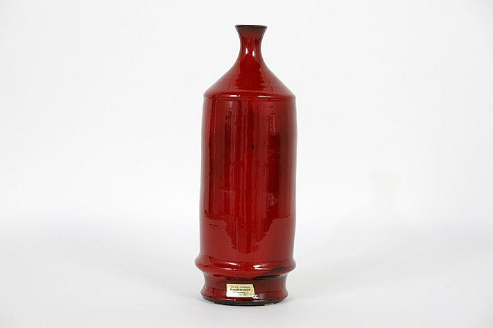 sixties'/seventies' vase in ceramics with typical red glaze - marked with label