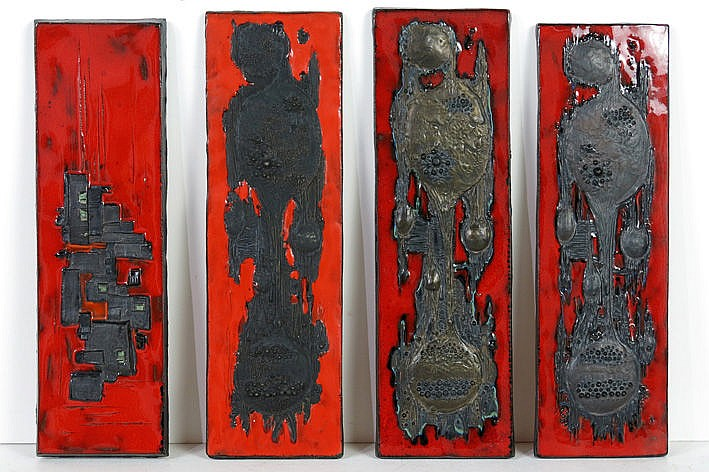 four (�) sixties' wall panels in ceramic with black modernistic decor on typical red fond - one is marked