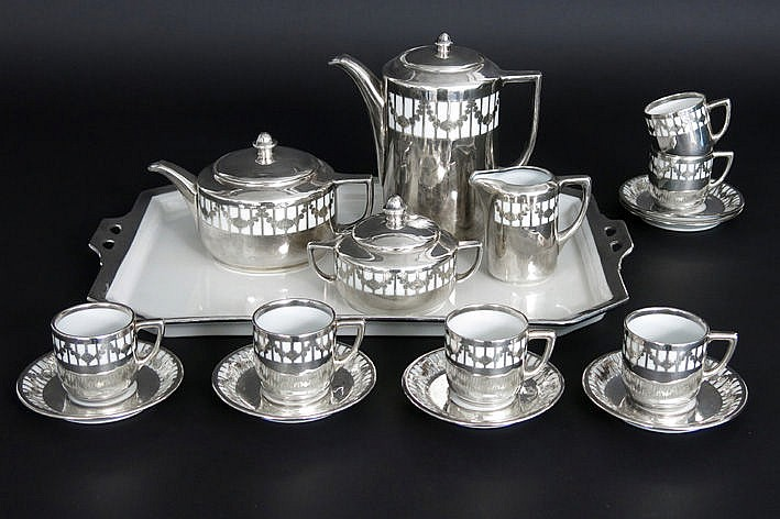 Art Deco coffee and teaset on its tray in marked partially silverplated porcelain  -  ca 1925