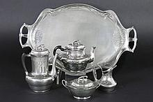 'Orivit' Art Nouveau coffee-and teaset on its tray with typical ornamentation - marked