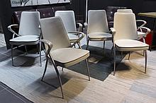 6 (�) Italian M. Perego design armchairs in white leather - marked
