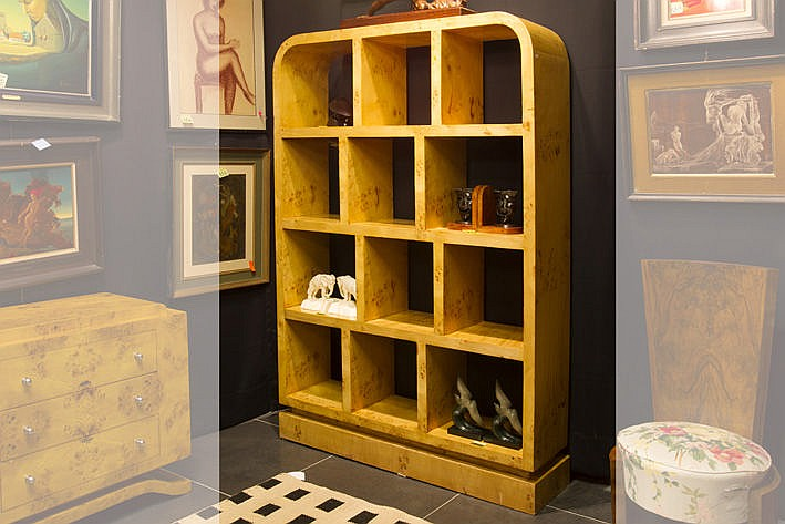 open Art Deco-style library bookcase in blond walnut burl with a typical trestle with ebonised feet