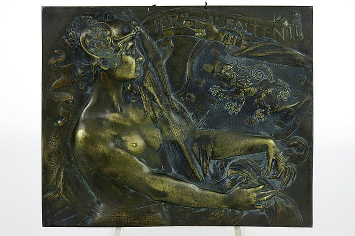 bas relief in bronze - signed