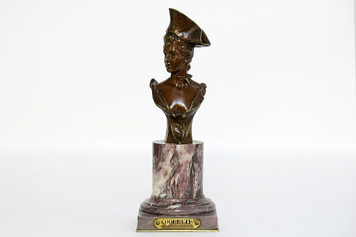 late 19th Cent. sculpture in bronze - on its marble base - signed