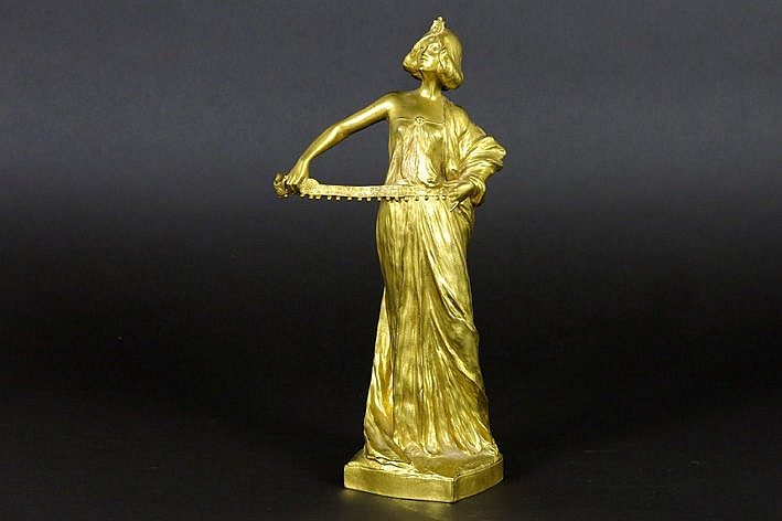 orientalistic Art Nouveau sculpture in bronze with gold patina - signed and with foundry mark F. Barb�dienne