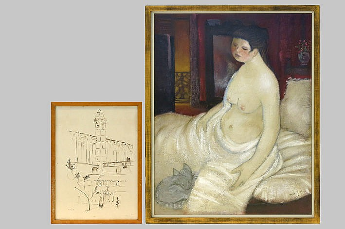 a drawing and an oil painting - signed
