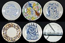 set of 6 sixties' plates in earthenware with different decors