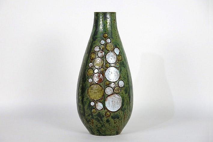 quite important and quite big sixties' vase in ceramics - signed and with photo-certificate