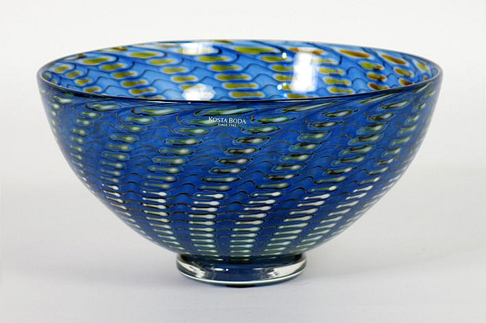 unique sixties' bowl in marked Kosta Boda glass - signed