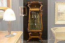 superb French Art Nouveau-display cabinet in finely carved walnut with typical whiplash ornamentation - attributed to