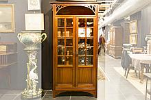 Belgian Art Nouveau library bookcase in mahogany