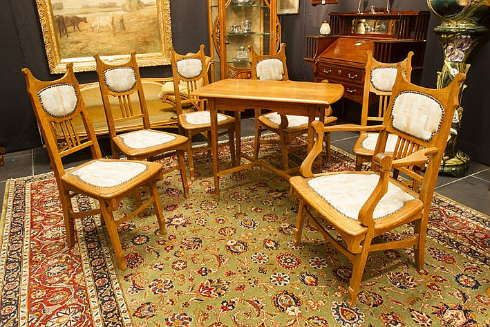 Jugendstil salon suite (seven pieces ) in oak - with a document/invoice