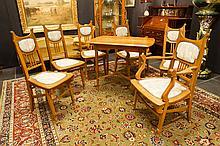 Jugendstil salon suite (seven pieces ) in oak  -  with a document/invoice