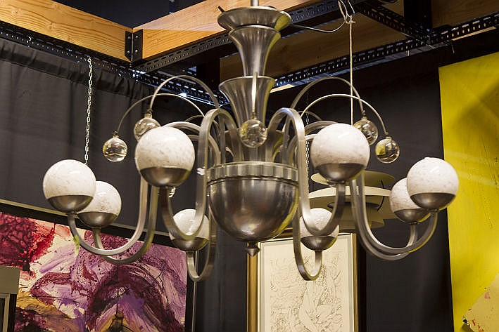 Art Deco-chandelier in metal and glass