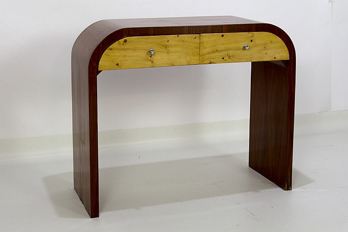 Art Deco-style console in rosewood with 2 drawers