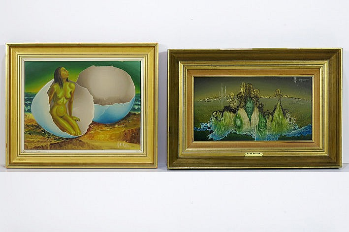 2 (�) oil on panel - signed and one is dated