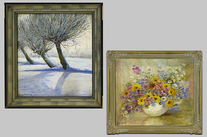 2 oilpaintings on canvas - signed