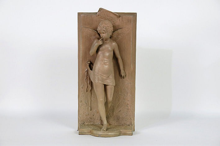 late 19th Century sculpture in terracotta  -  signed