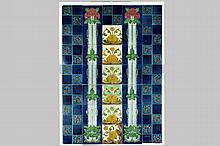 Art Nouveau-painting on tiles with 35 tiles in glazed earthenware