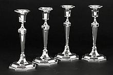 rare set of 4 (�) Art Deco candlesticks in marked and signed silver