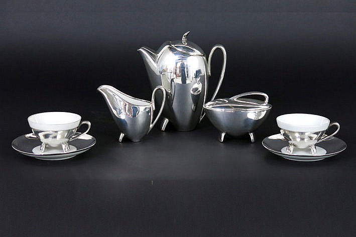 German sixties' coffeeset for two in marked porcelain with silver