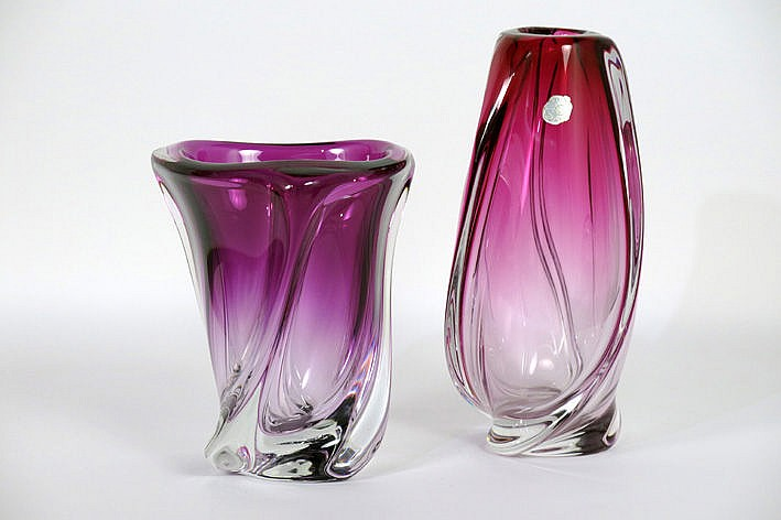 2 (�) Belgian fifties' vases in crystal - signed