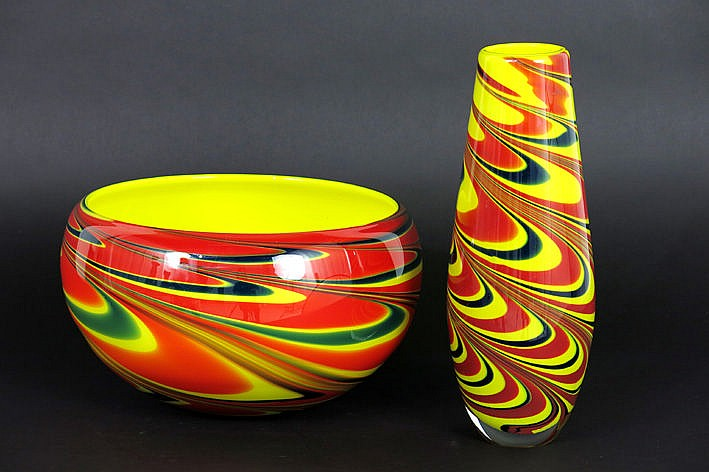 sixties'/seventies' Italian bowl and vase in Murano-glass