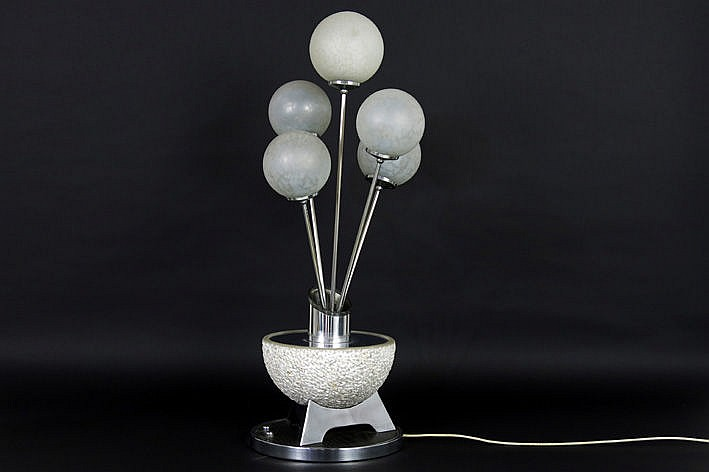 quite special design lamp in wood chromed metal alabaster and satinised glass