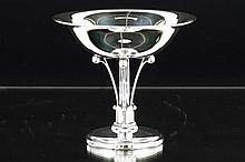 American 'G.Jensen' style Art Deco dish on stand in marked silver