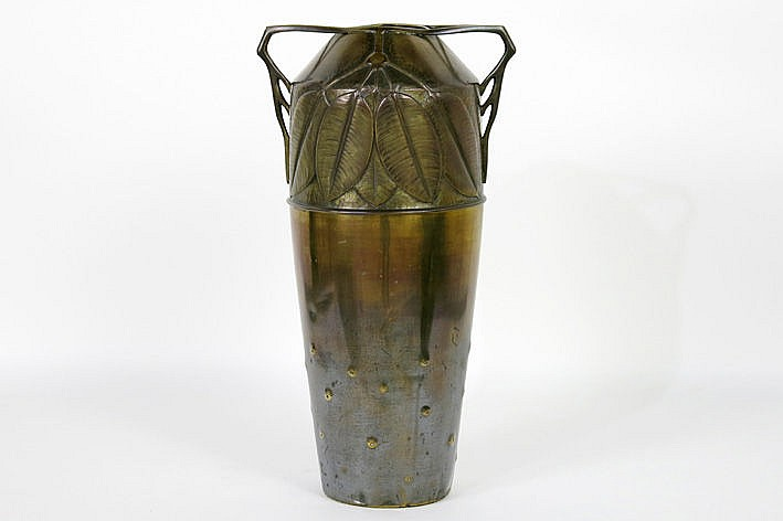 quite big WMF Art Nouveau-vase with handles in brass and with a vegetal decor - marked