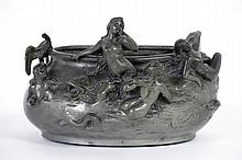 Art Nouveau jardiniere in pewter with figures - signed