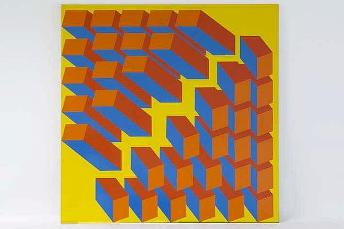 VANDEN ABBEEL JAN (° DENDERBELLE 1943) schilderij in acryl op doek ('synthetics op doek) getiteld :