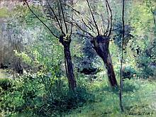 """DE COCK CÉSAR (1823 - 1904) goed olieverfschilderij op doek met een typisch realistisch uitgewerkt en aangenaam thema : """"Boszicht in de lente"""" - 46 x 61 getekend"""