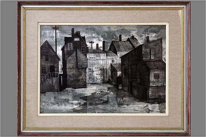 BONNEVALLE OSCAR-HECTOR (° GENT 1920) olieverfschilderij op doek :
