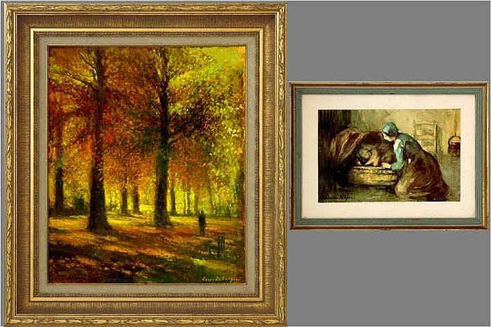 DE SAEGER LOUIS (° DENDERMONDE 1908) lot van : * impressionistisch olieverfschilderij op paneel :