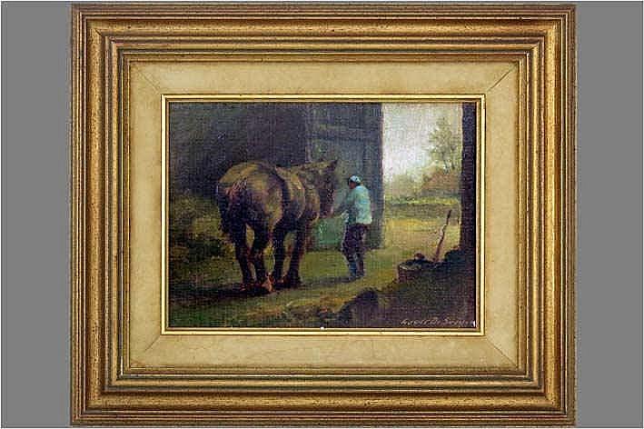 DE SAEGER LOUIS (° DENDERMONDE 1908) olieverfschilderij op doek (gemaroufleerd op paneel) :