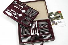 set of cutlery for 12 in a suitcase