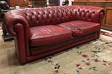 nice old Chesterfield settee in leather