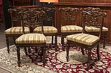 set of six 19th Cent. English Regency chairs in rose-wood with fine carvings