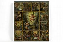 19th Cent. quite large Russian icon with several scenes:festivities around Christ's ascension