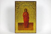 antique Russian icon with Saint Tatiana on a guilded background