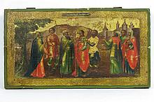 18th/19th Cent. quite large icon with a scene with eight Saints from the New Testament - probably from a iconstase