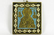 antique Russian traveller's icon in partially enamelled brass