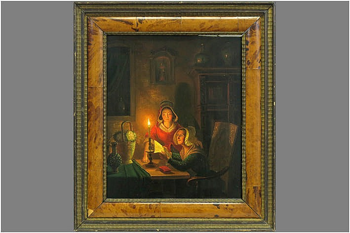 19th Cent. oil on panel - signed and dated (on the table : Gme Thans)