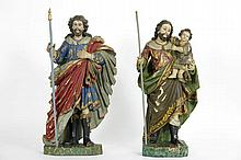 pair of antique South-European sculpture in wood with original polychromy