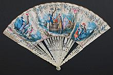 antique fan with nice paintings and pens in ivory